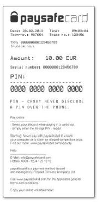 Paysafecard voucher for betting