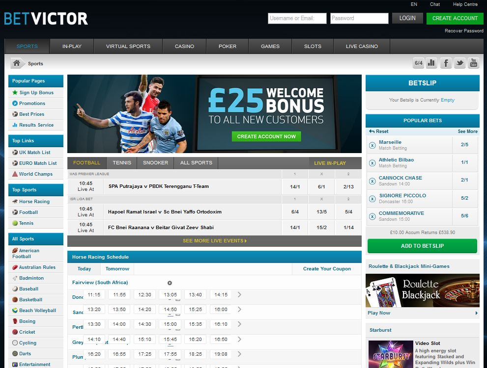 BetVictor sports has nice special offers that can contain good value