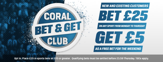 Coral Bookies Bet and Get Club